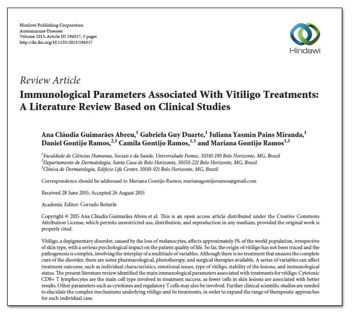 Artigo De Revisão Dos Parâmetros Imunológicos Associados Aos Tratamentos Do Vitiligo